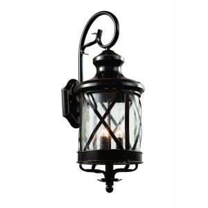 Carriage House 3 Light Oiled Bronze Outdoor Coach Lantern With Seeded Gl