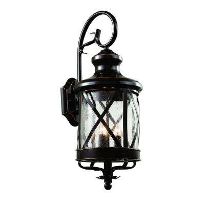 Carriage House 3-Light Oiled Bronze Outdoor Coach Lantern Sconce with Seeded Glass