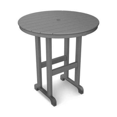 La Casa Cafe 36 in. Slate Grey Round Plastic Outdoor Patio Counter Table