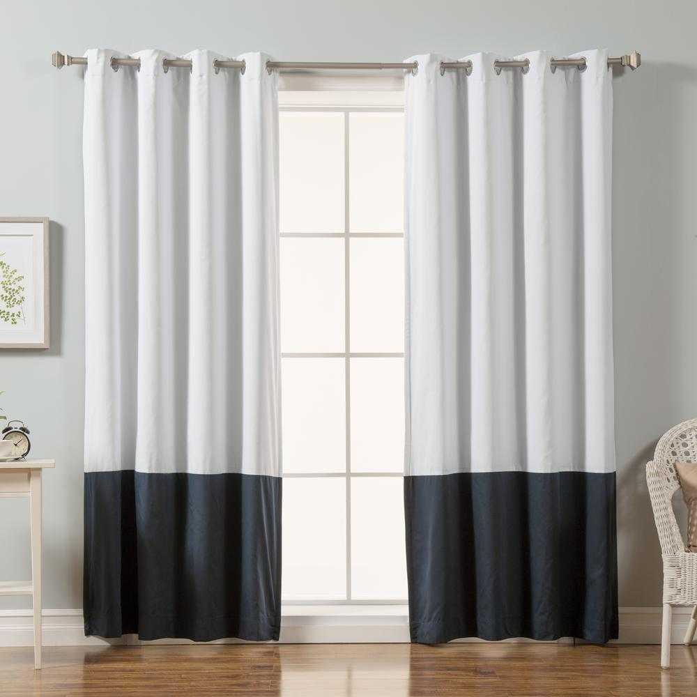 84 in. L Navy Color Block Cotton Blend Blackout Curtains in