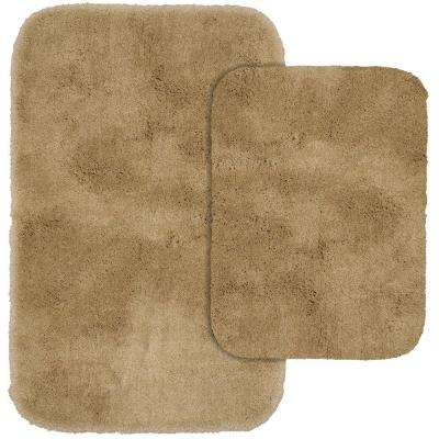 Finest Luxury Taupe 21 in. x 34 in. Washable Bathroom 2-Piece Rug Set