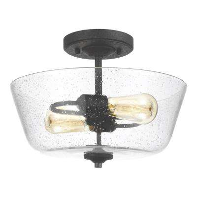 Morill 2-Light Blacksmith Semi-Flushmount