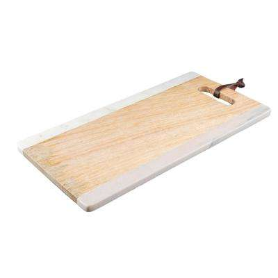 White and Pink Marble with Mango Wood Serving Board with Leather Strap