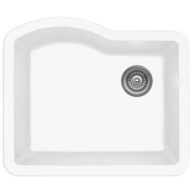 Undermount Quartz Composite 24 in. Single Bowl Kitchen Sink in White