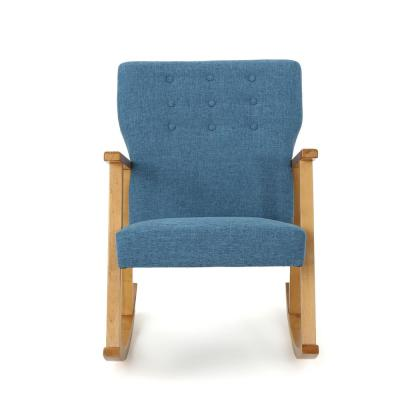 Harvey Mid-Century Modern Button Back Muted Blue Fabric Rocking Chair
