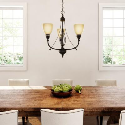 3-Light Bronze Chandelier with Tea Stained Glass Shades