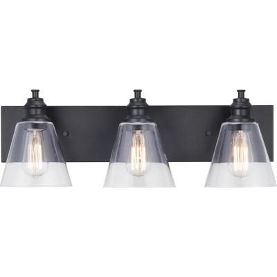 Elsey Manor 24 in. 3-Light Matte Black Vanity Light with Clear Glass Shades