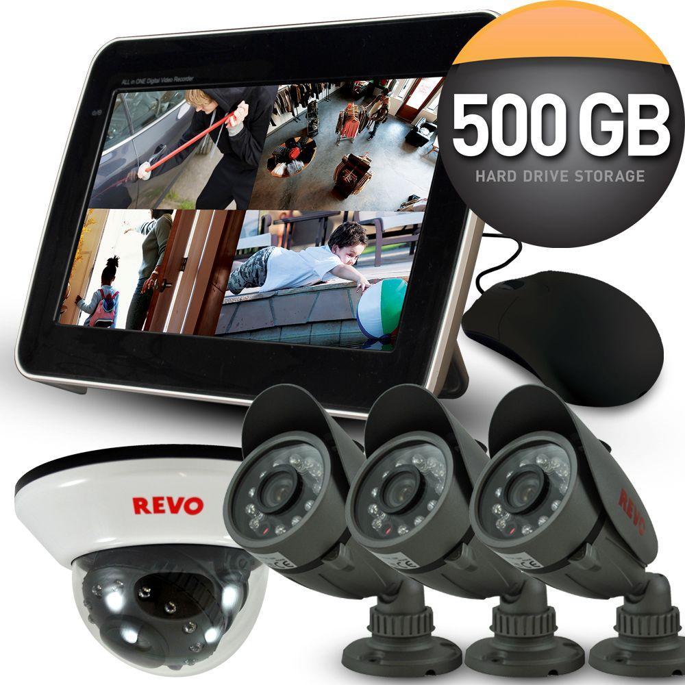 Revo 4-Channel 500GB DVR4 Surveillance System, 10.5 in. Built-in Monitor (4) 600 TVL 33 ft. Nightvision Cameras-DISCONTINUED