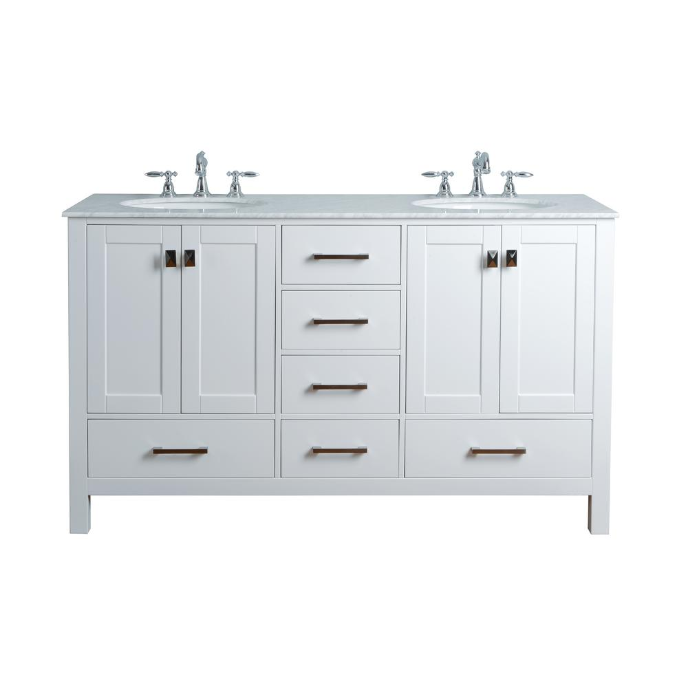 Stufurhome Malibu 60 In. Vanity In Pure White With Marble Vanity Top In  Carrara-GM-6412-60PW-CR - The Home Depot