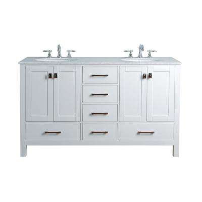 Malibu 60 in. Vanity in Pure White with Marble Vanity Top in Carrara