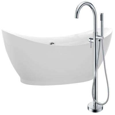 Reginald 68 in. Acrylic Flatbottom Non-Whirlpool Bathtub in White with Kros Faucet in Polished Chrome