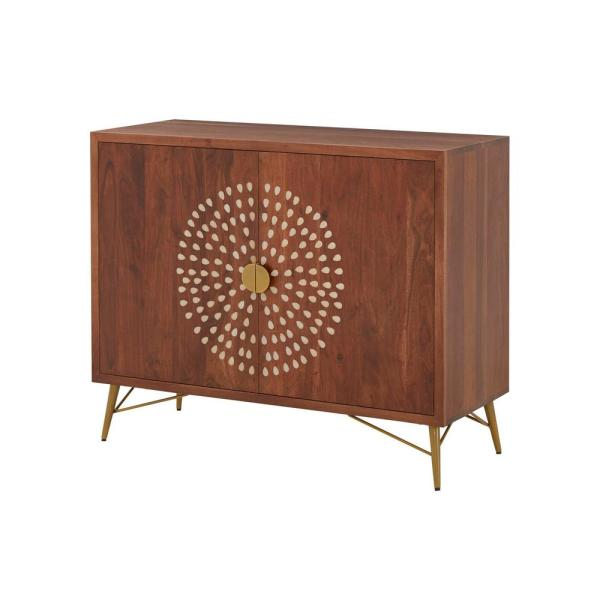 Home Decorators Collection - Home Decorators Collection Natural Finish Wood Accent Cabinet with Inlay Design (39.40 in. W x 31.50 in. H)