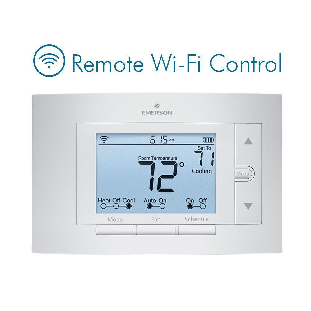 whites emerson programmable thermostats up500w 64_1000 emerson sensi wi fi programmable thermostat for smart home wiring diagram for a emerson up310 thermostat at reclaimingppi.co