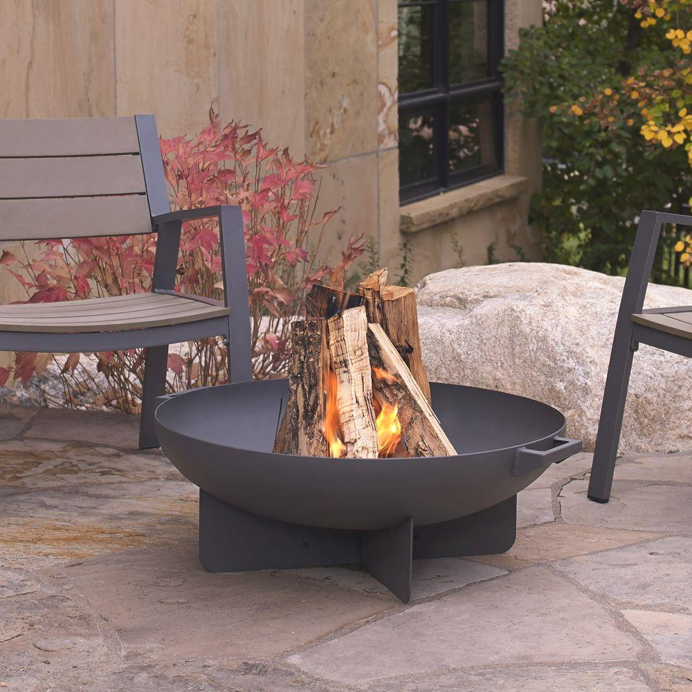 Real Flame Anson 32 In Wood Burning Steel Fire Bowl In