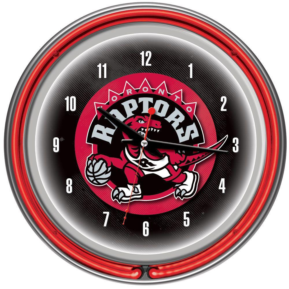 Trademark Global 14 in. Toronto Raptors NBA Chrome Double Ring Neon Wall Clock