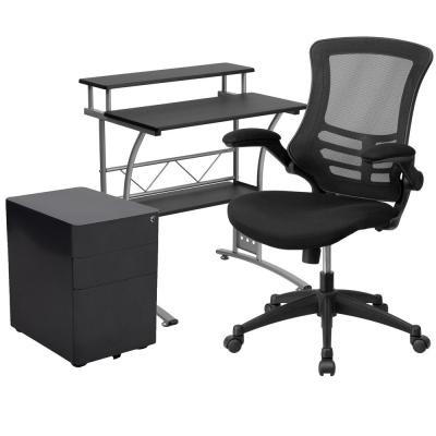 28 in. Rectangular Black Engineered Wood 3-Drawer Computer Desk with Keyboard Tray