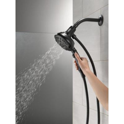 SureDock 7-Spray 5 in. Single Wall Mount Handheld H2Okinetic Shower Head in Matte Black