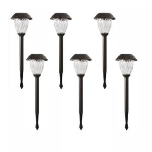 6 Pack Colour Changing Stainless Steel LED Solar Diamond Effect Stake Lights