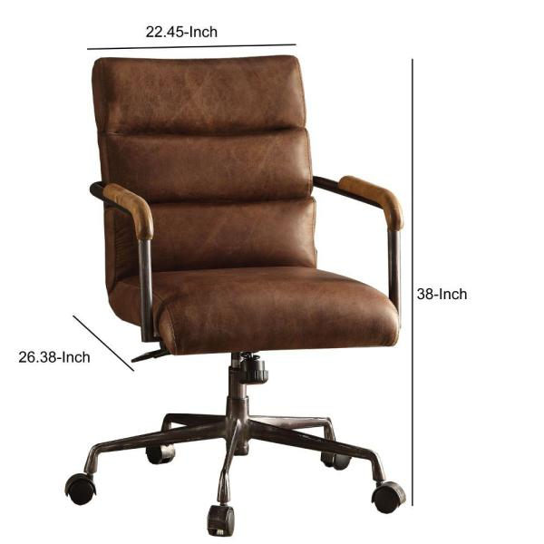 Benjara Retro Brown Metal And Top Grain Leather Executive Office Chair Bm163560 The Home Depot