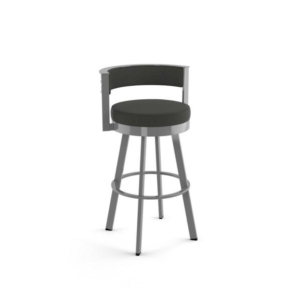 Browser 26 in. Charcoal Grey Polyester Glossy Grey Metal Swivel Counter Stool