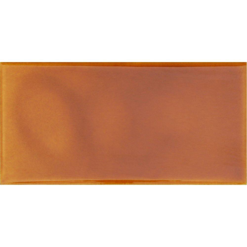 Hand-Painted Tangerine Orange 3 in. x 6 in. Glazed Ceramic Wall Tile (1.25 sq. ft. / case)