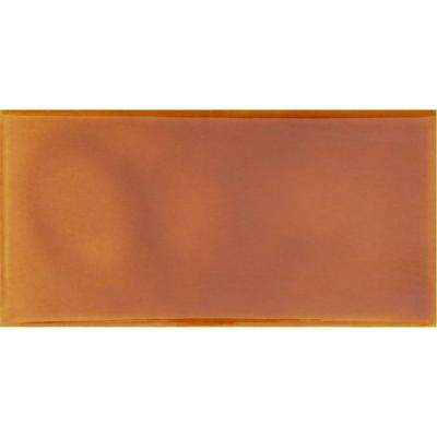 Hand-Painted Tangerine Orange 3 in. x 6 in. Glazed Ceramic Wall Tile (1.25 sq. ft. / case)