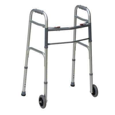 Two-Button Release Folding Walker with Wheels in Silver/Gray