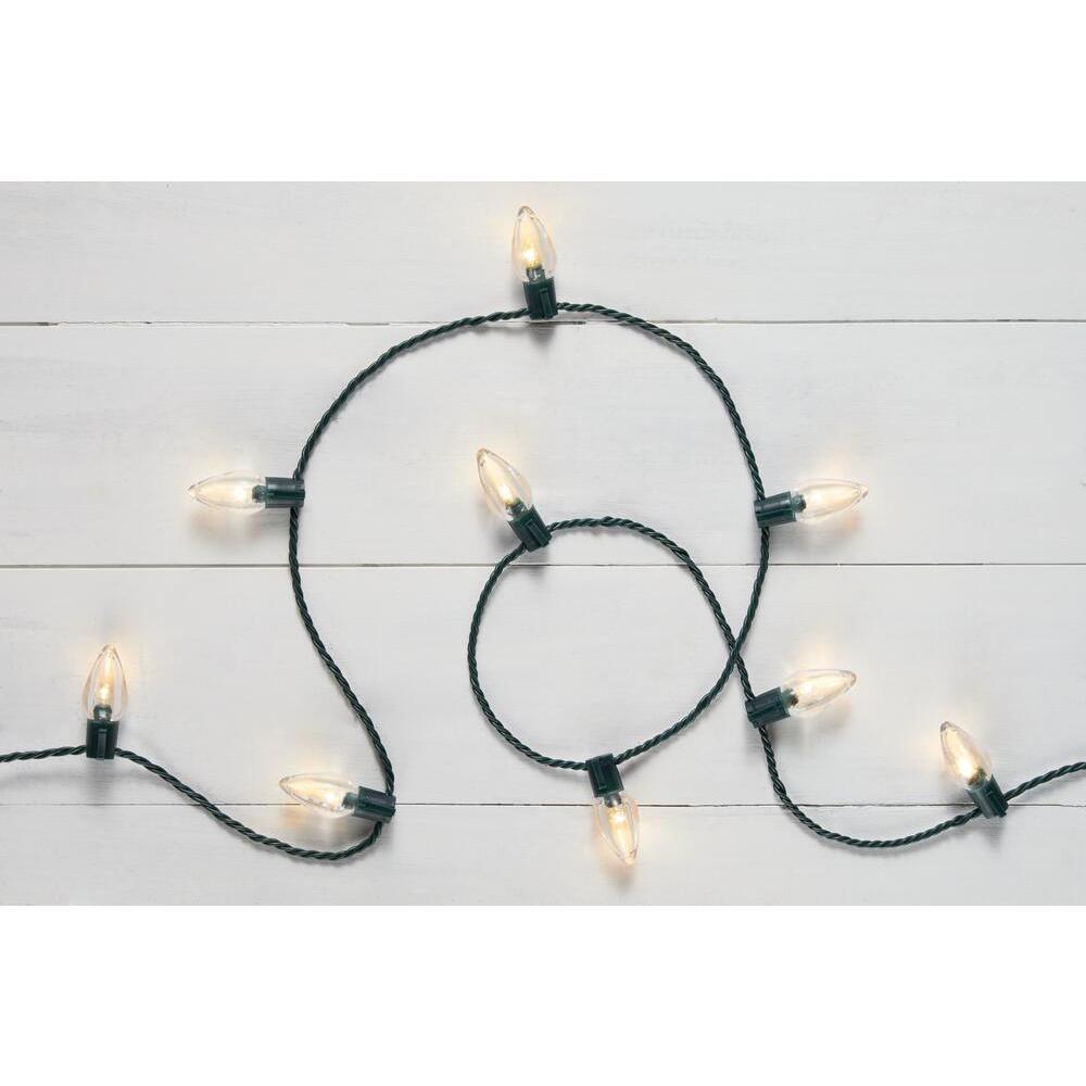 16 ft. 25-Light LED Warm White C9 Super Bright String Light