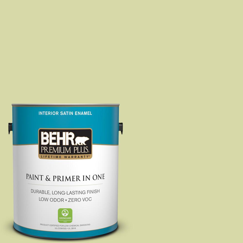 BEHR Premium Plus 1-gal. #410C-3 Celery Sprig Zero VOC Satin Enamel Interior Paint