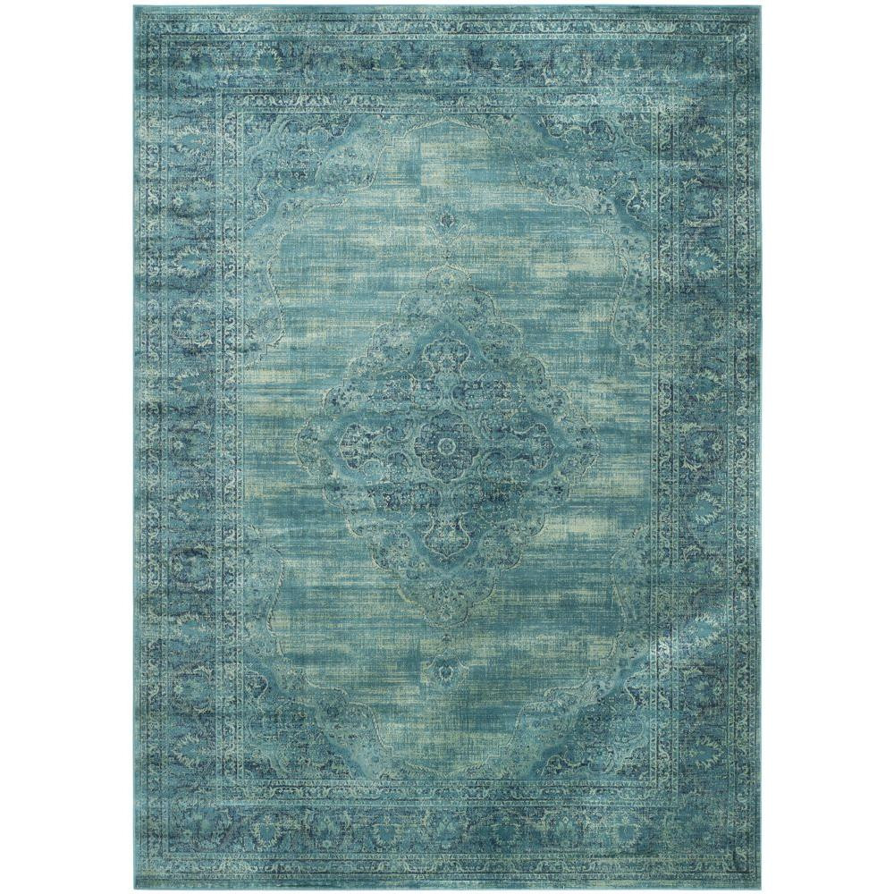 Safavieh Rag Rug Turquoise Multi 8 Ft X 10 Ft Area Rug: Safavieh Vintage Turquoise/Multi 8 Ft. 10 In. X 12 Ft. 2