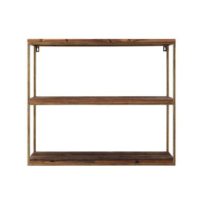 Woven Roots 11 in.x 29.75 in.x 25.25 in. Antique Gold/Brown Wood and Metal Wall Mounted Shelf