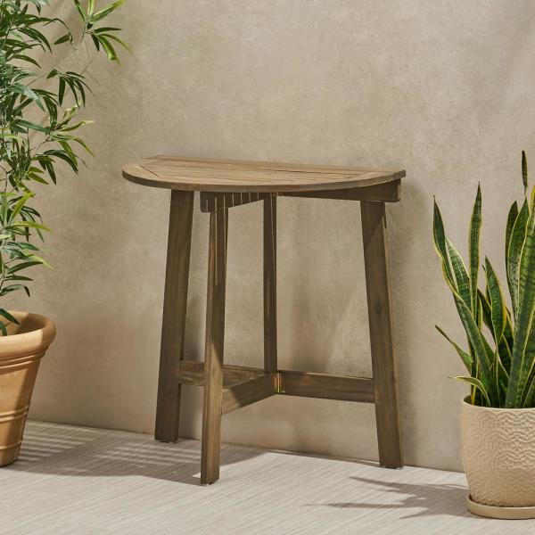 Westmount Grey Half-Round Folding Acacia Wood Outdoor Bistro Table