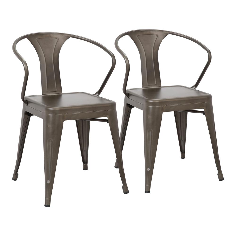 Lumisource Waco Antique Metal Dining Chair (Set of 2) - Lumisource Waco Antique Metal Dining Chair (Set Of 2)-DC-WCO AN2