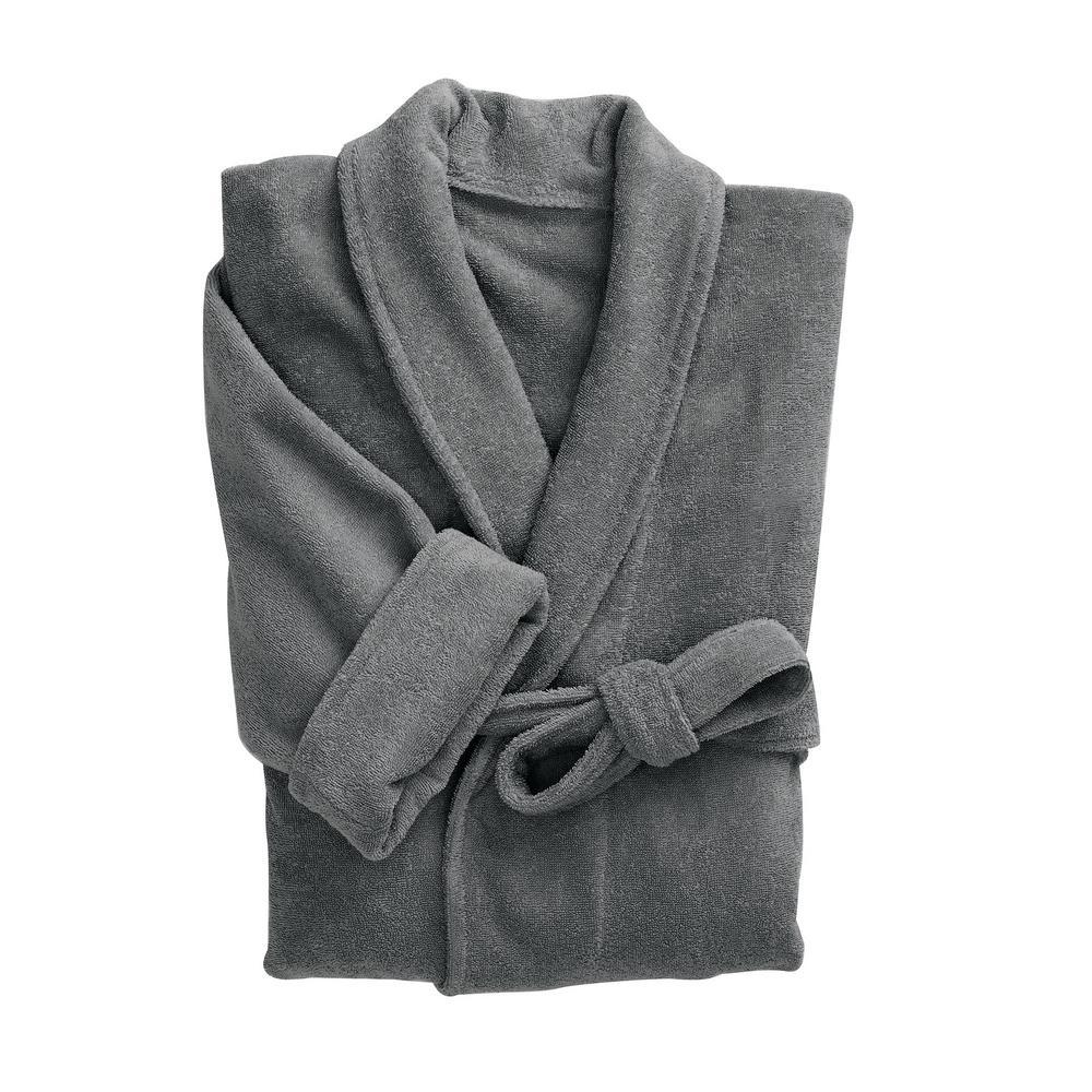 The Company Store Company Cotton Adult Large Extra Large Graphite Bath Robe -RK34-LXL-GRAPHITE - The Home Depot f42e5421e