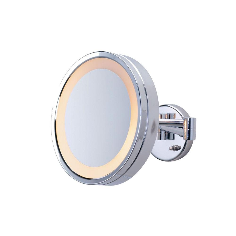 Jerdon 10 in l x 10 in lighted wall mirror in chrome hl7cf the lighted wall mirror in chrome hl7cf the home depot amipublicfo Choice Image