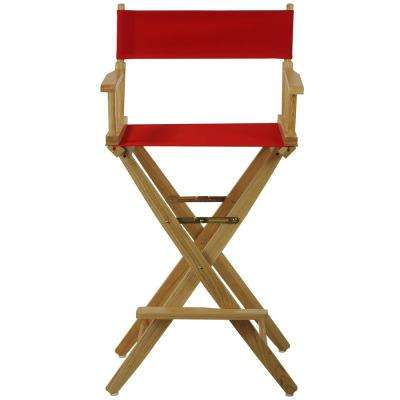 30 in. Extra-Wide Natural Wood Frame/Red Canvas Seat Folding Directors Chair