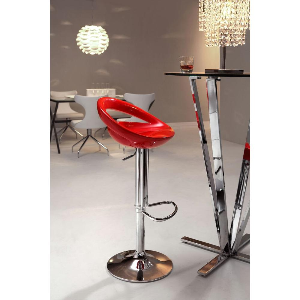 ZUO Tickle Adjustable Height Chrome Bar Stool 300024 The  : red zuo bar stools 300024 641000 from www.homedepot.com size 1000 x 1000 jpeg 68kB