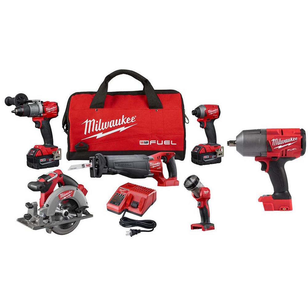 Milwaukee M18 FUEL 18-Volt Lithium-Ion Brushless Cordless Combo Kit (6-Tool) with (2) 5.0 Ah Batteries, (1) Charger, (1) Tool Bag
