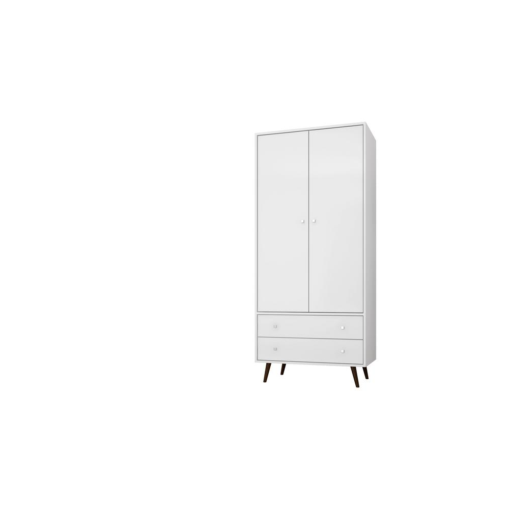 White Mid Century  Modern Armoire With 2 Drawers, 1