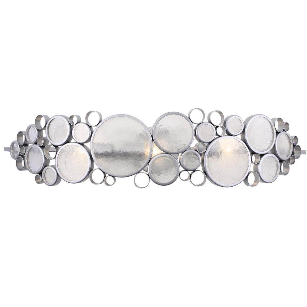 Fascination 3-Light Metallic Silver Bath Light