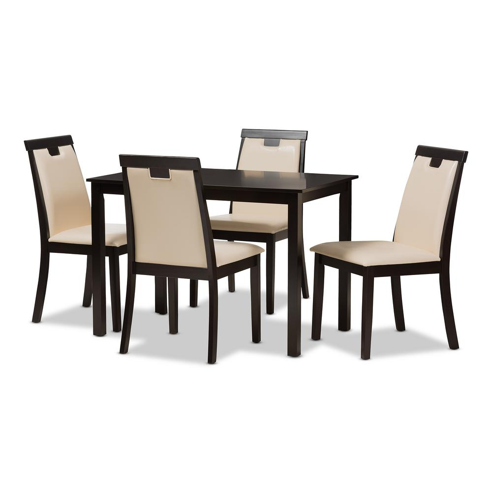 Evelyn 5-Piece Beige and Dark Brown Dining Set