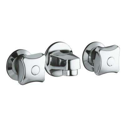 Triton 2-Handle Wall Mount Commercial Bathroom Faucet with Grid Drain and Standard Handles in Polished Chrome