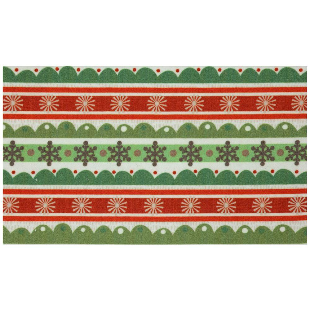 Mohawk Home Scallop Snowflakes 17 in. x 29 in. Digital Printed Echo Door Mat