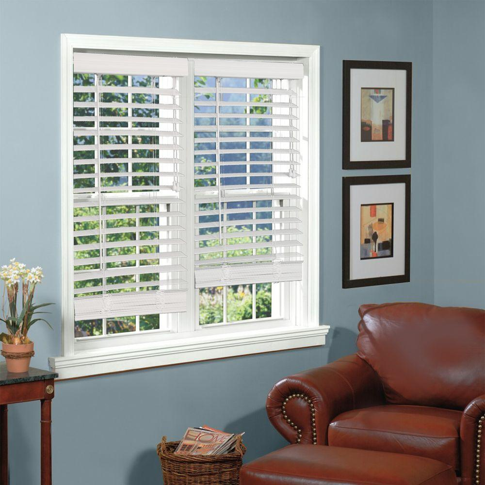 white faux wood blinds Perfect Lift Window Treatment White 2 in. Textured Faux Wood Blind  white faux wood blinds