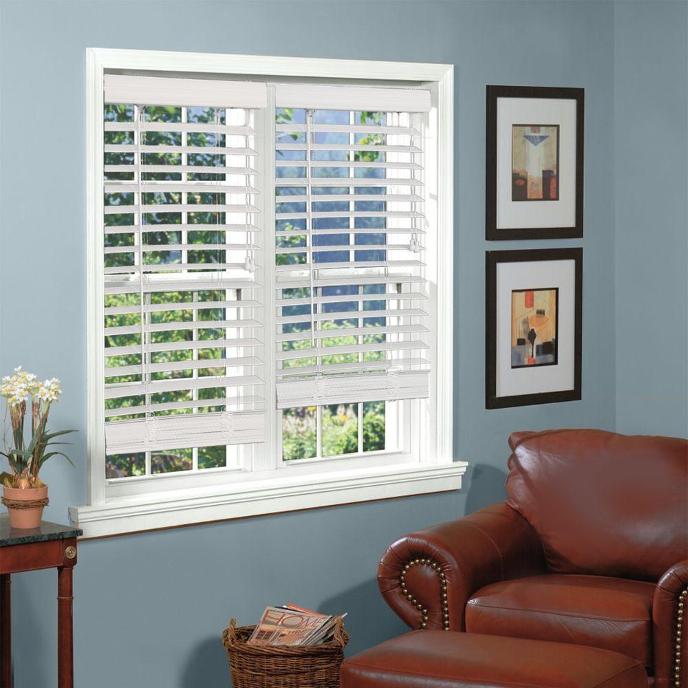 Perfect Lift Window Treatment White 2 in. Textured Faux Wood Blind - 56.5 in. W x 84 in. L (Actual Size: 56.5 in. W x 84 in. L)