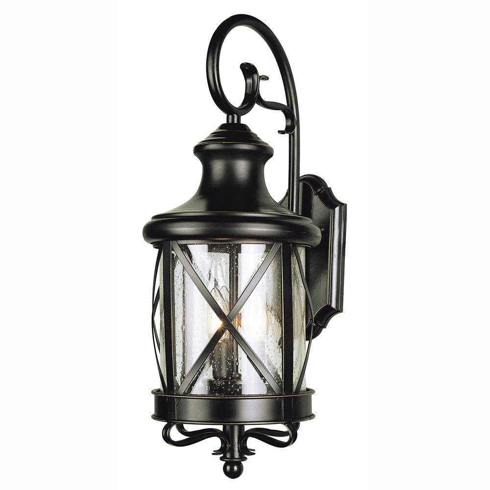 Bel Air Lighting Carriage House 2 Light Outdoor Oiled Bronze Coach Lantern With Clear Gl