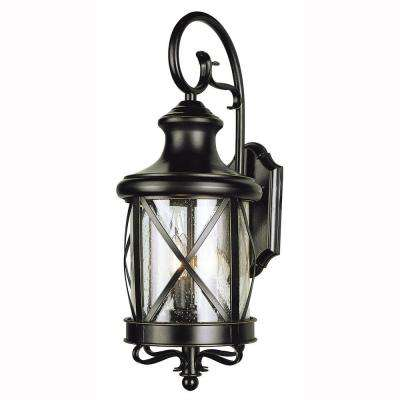 Carriage House 2-Light Outdoor Oiled Bronze Coach Lantern with Clear Glass