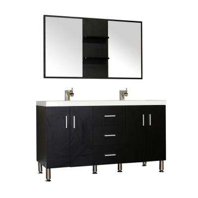 Ripley 56.5 in. W x 19.87 in. D x 33.12 in. H Vanity in Black with Acrylic Vanity Top in White with White Basin