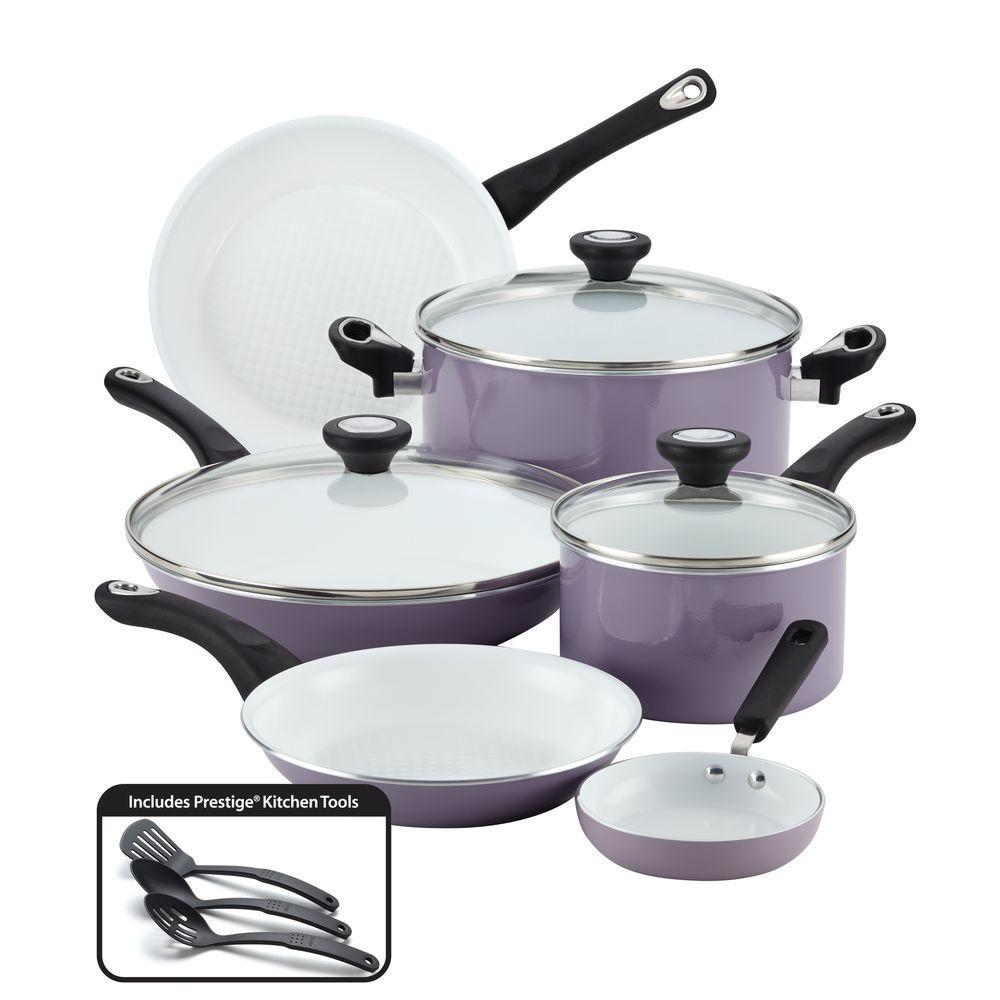 purECOok 12-Piece Aluminum Ceramic Nonstick Cookware Set in Lavender