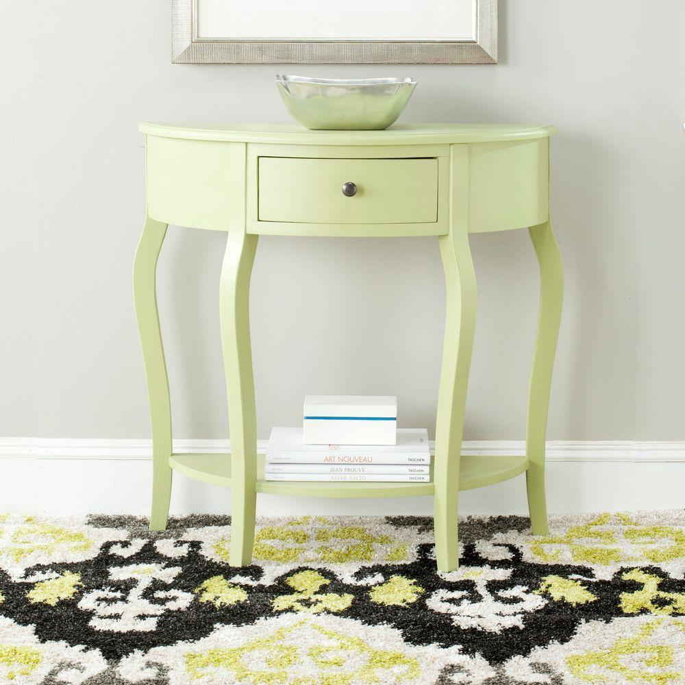 Jan Demilune Avocado Green Storage Console Table